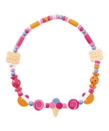 Sevi Wooden Candy Necklace - Orange Pink