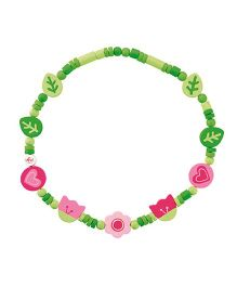 Sevi Wooden Floral Necklace - Green Pink