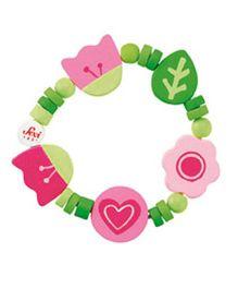 Sevi Wooden Floral Bracelet - Green Pink