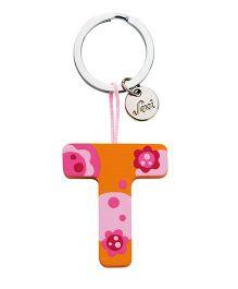 Sevi Wooden T Alphabet Key Chain - Orange Pink