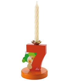 Sevi Wooden 7 Number Happy Birthday Candle - Red Brown