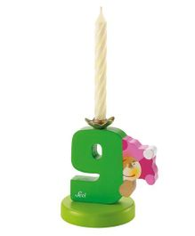 Sevi Wooden 9 Number Happy Birthday Candle - Green