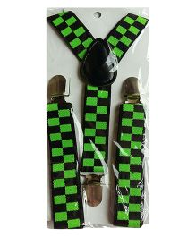 Milonee Checkered Suspenders - Green & Black