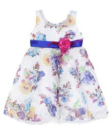 Bluebell Sleeveless Long Partywear Frock Floral Print - Blue White