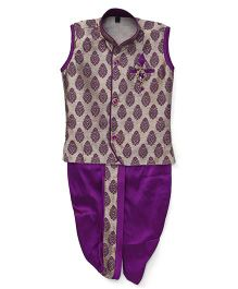 Little Groom Contrast Border Dhoti Jacket & Kurta With A Broach - Purple