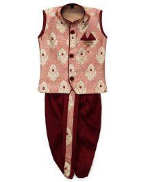 Little Groom Contrast Border Dhoti Jacket & Kurta With A Pocket Squares- Red