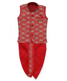 Little Groom Contrast Border Dhoti Jacket & Kurta With Broach - Red