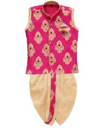 Little Groom Contrast Border Dhoti Jacket & Kurta With A Pocket Squares- Pink