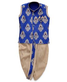 Little Groom Contrast Border Dhoti Jacket & Kurta With A Pocket Squares- Blue