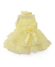 Babyhug Sleeveless High Neck Partywear Frock With Brooch - Lemon