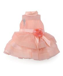 Babyhug Sleeveless High Neck Partywear Frock With Brooch - Peach
