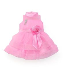 Babyhug Sleeveless High Neck Partywear Frock With Brooch - Pink