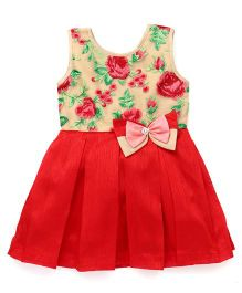 Babyhug Sleeveless Embroidered Party Frock - Red
