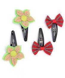 Funkrafts Bow & Flower Hair Clips Combo - Red & Green