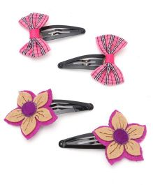 Funkrafts Bow & Flower Hair Clips Combo - Pink & Purple