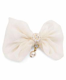Funkrafts Pretty Flower With Bow Clip - Cream