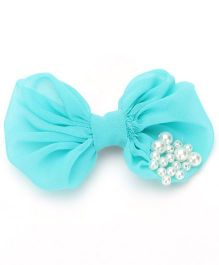 Funkrafts Bow Clip With Pearls - Turquoise
