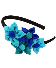 Knotty Ribbons Handmade Four Flower Bunch Hair Band - Blue