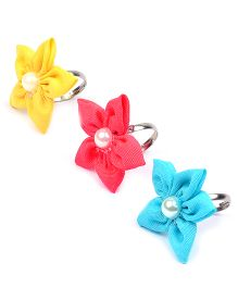 Knotty Ribbons Adjustable Handmade Flower Rings - Yellow Blue & Pink