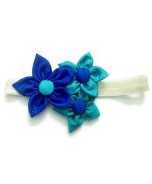 Knotty Ribbons Handmade Three Flower Bunch Headband - Blue