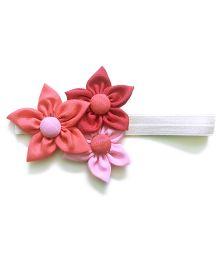 Knotty Ribbons Handmade Three Flower Bunch Headband - Pink