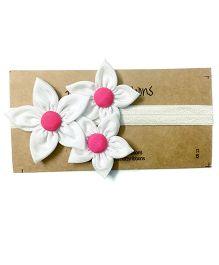 Knotty Ribbons Handmade Three Flower Bunch Headband - White
