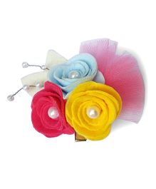 Reyas Accessories Rose Hair Clip With Pearls - Multicolour