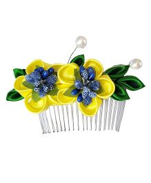 Reyas Accessories Floral Kanzashi Comb Clip - Yellow & Green