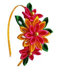 Reyas Accessories Floral Kanzashi Hair Band - Pink & Yellow