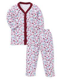 Playbeez Butterfly & Flowers Print Sleep Wear 2 Piece Top & Pyjama Set - Multi Color