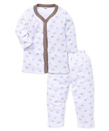 Playbeez Clouds Print Sleep Wear 2 Piece Top & Pyjama Set - Multi Color