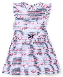 Playbeez Stripes With Red Waves Print Dress - Multi Color