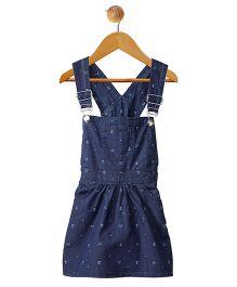 Stylestone Mini Knife & Anchor Printed Denim Dungaree Skirt Dress - Blue