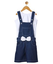 Stylestone Pleated Denim Dungaree Shorts With Bow Applique & Top - Blue & White