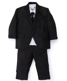 Babyhug 4 Piece Party Wear Suit With Tie - White Black