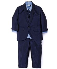 Babyhug 4 Piece Party Wear Suit - Navy Blue
