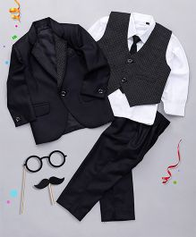 Babyhug 4 Pieces Dotted Collar Partysuit With Tie - Black