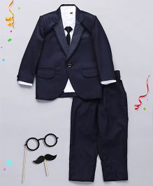 Babyhug 4 Pieces Dotted Collar Partysuit With Tie - Blue