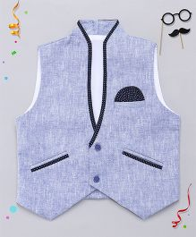 Babyhug Sleeveless Solid Color Partywear Jacket - Blue