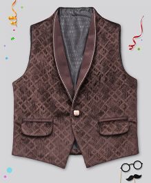 Babyhug Sleeveless Self Design Jacket - Wine
