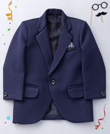 Babyhug Self Design Partywear Blazer - Blue