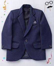 Babyhug Self Design Partywear Blazer - Blue