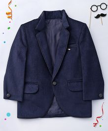 Babyhug Full Sleeves Solid Color Blazer - Blue