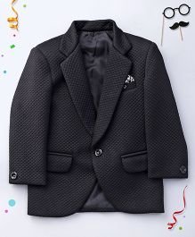 Babyhug Self Design Partywear Blazer - Black
