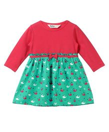 Beebay Full Sleeves Dress Solid & Whale Print - Green & Pink