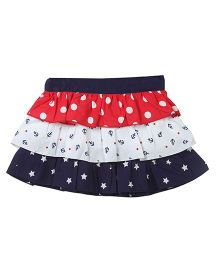 Beebay Tiered Nautical Skirt - Navy White & Red