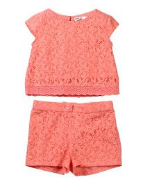 Beebay Cap Sleeves Lace Top & Shorts - Coral