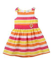 Beebay Sleeveless Dress Multi Stripe Print With Crochet Flower - Orange