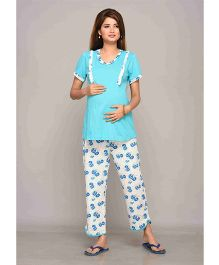 Mama & Bebe Half Sleeves Maternity Night Suit Floral Print - Blue