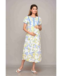Mama & Bebe Short Sleeves Maternity Dress Floral Print - Blue & Yellow